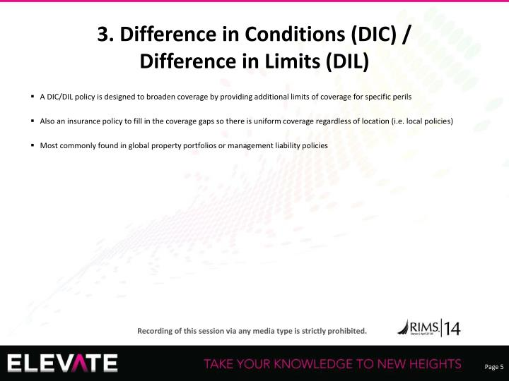 3. Difference in Conditions (DIC) /