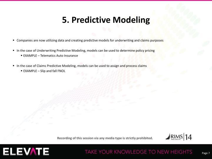 5. Predictive Modeling