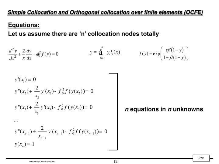Simple Collocation and Orthogonal collocation over finite elements (OCFE)