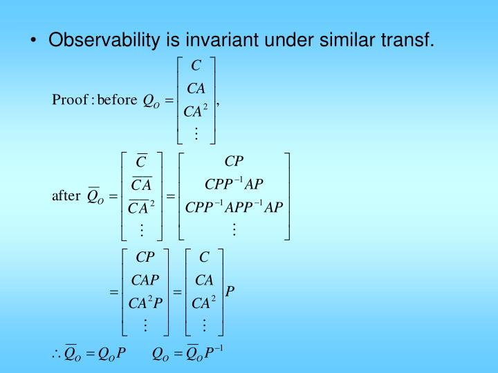 Observability is invariant under similar transf.