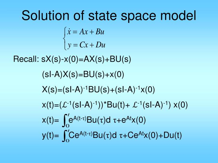 Solution of state space model