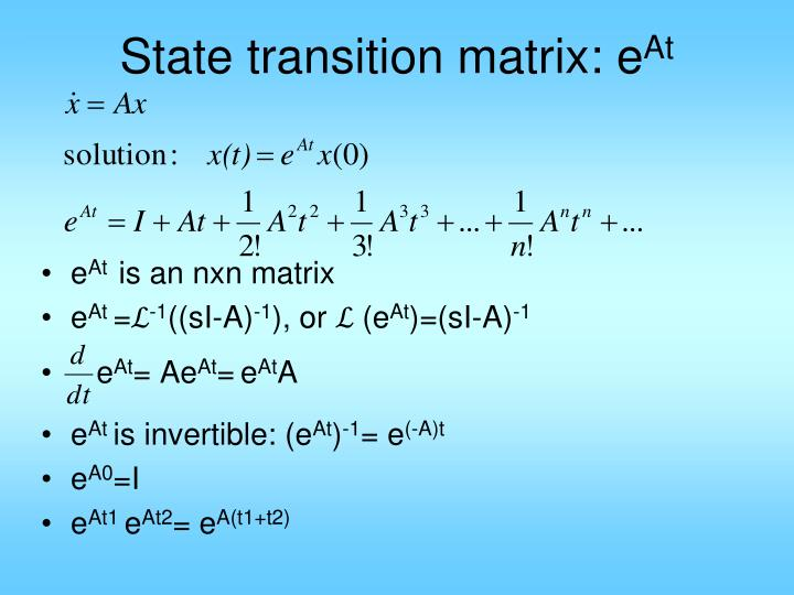 state transition matrix e at