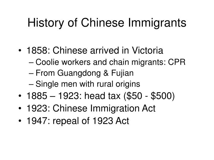 History of Chinese Immigrants