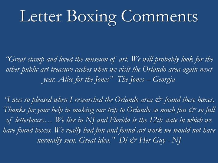 Letter Boxing Comments