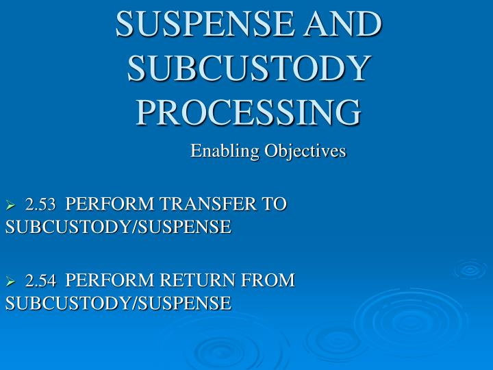 Suspense and subcustody processing