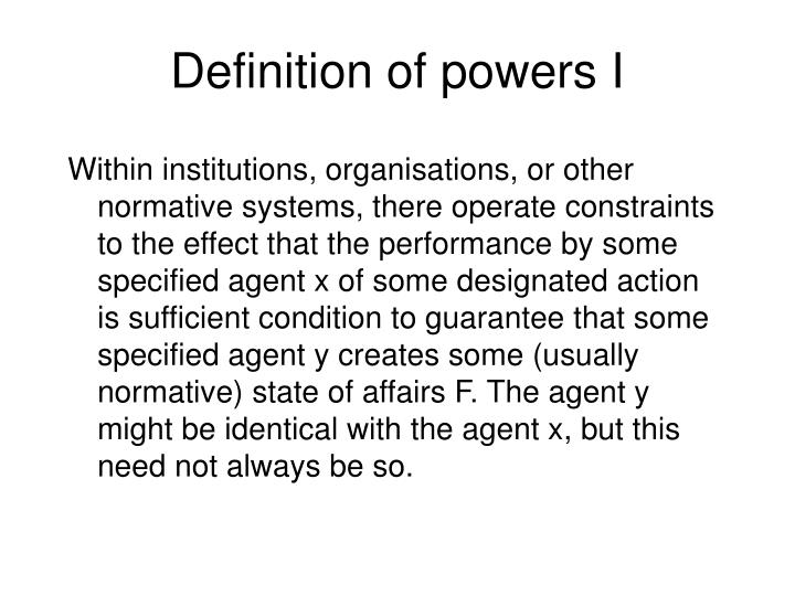 Definition of powers I