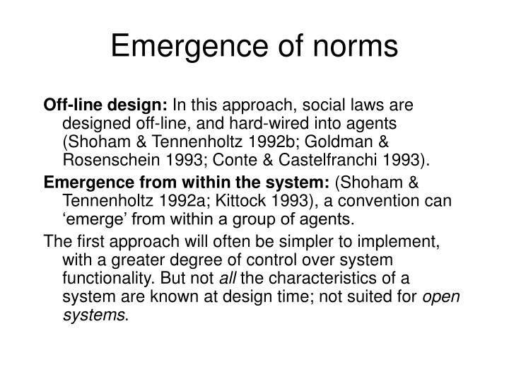 Emergence of norms