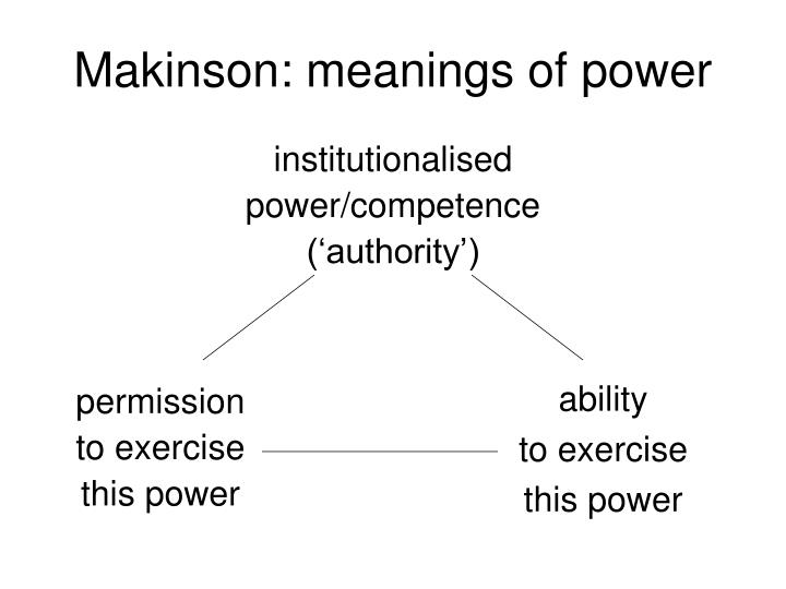Makinson: meanings of power