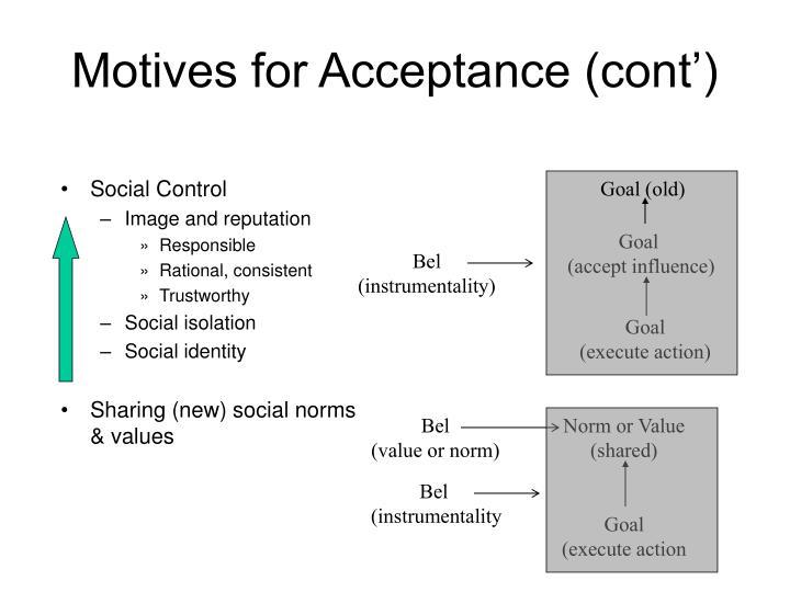 Motives for Acceptance (cont')