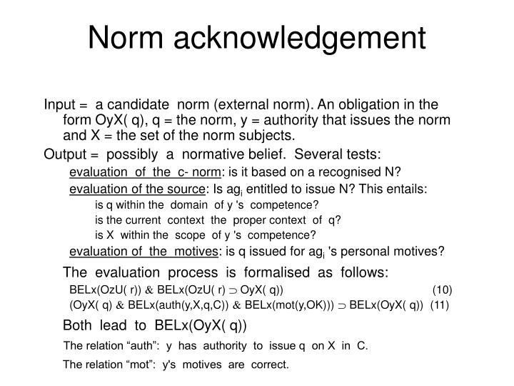 Norm acknowledgement