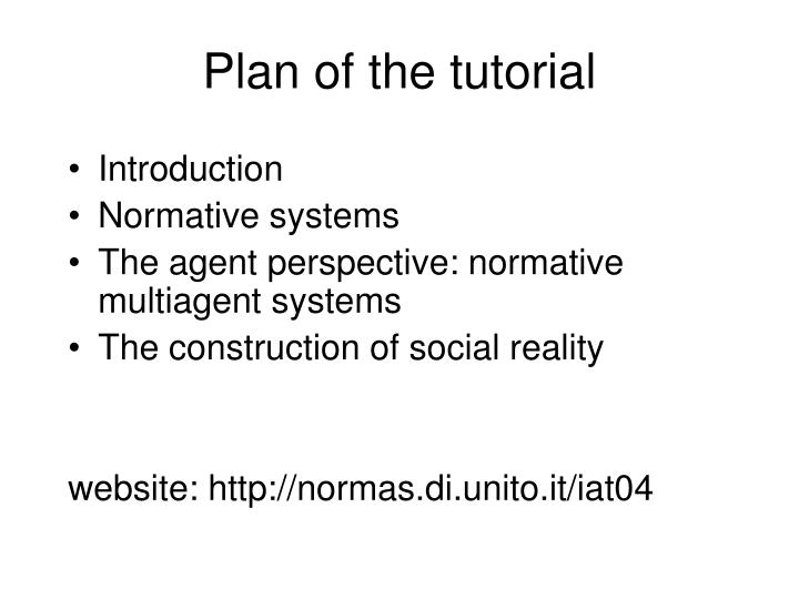 Plan of the tutorial
