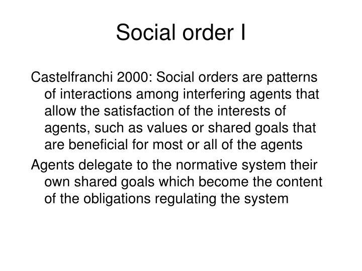 Social order I