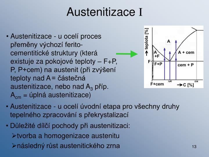 Austenitizace - u ocelí úvodní etapa pro všechny druhy tepelného zpracování s překrystalizací