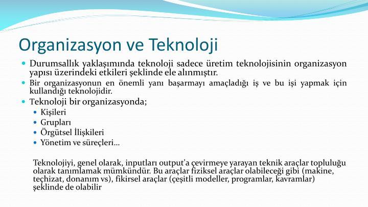Organizasyon ve Teknoloji