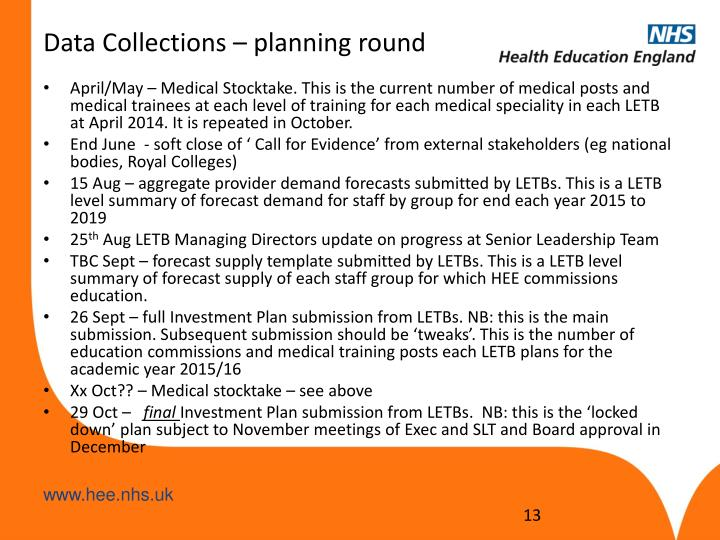Data Collections – planning round