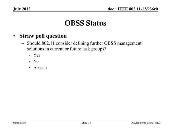 OBSS Status