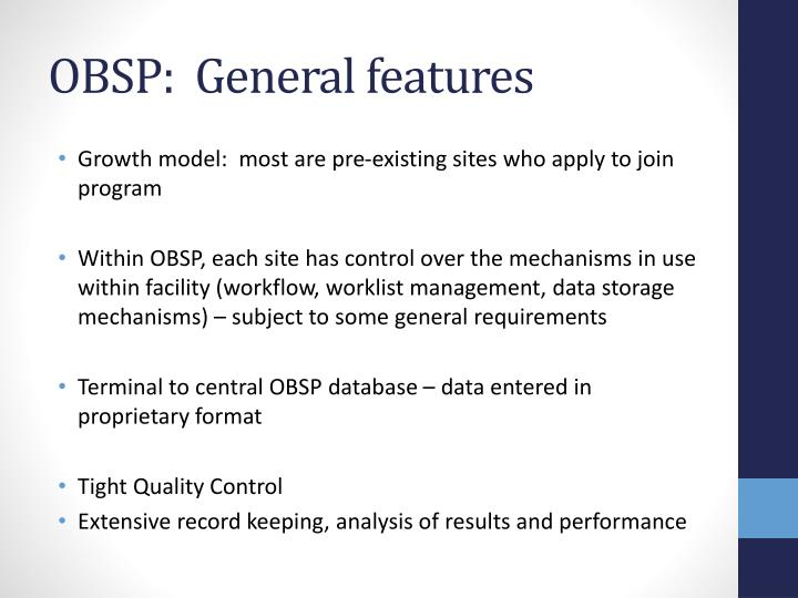 OBSP:  General features