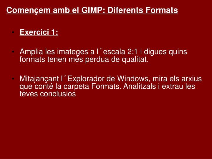 Començem amb el GIMP: Diferents Formats