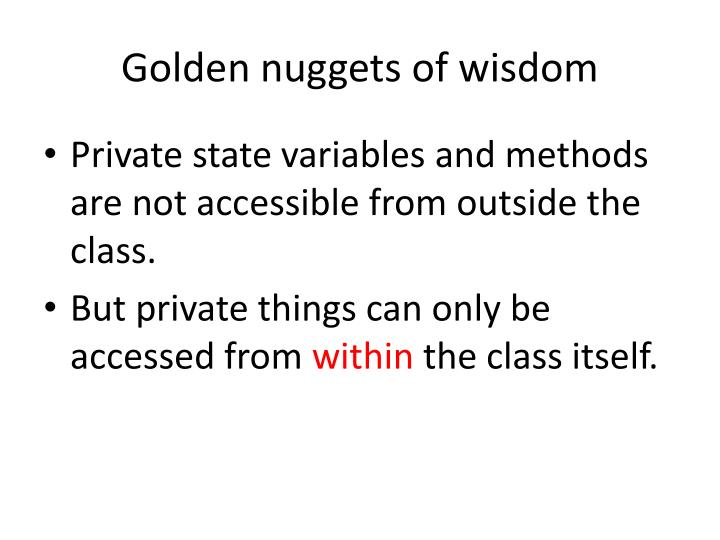 Golden nuggets of wisdom