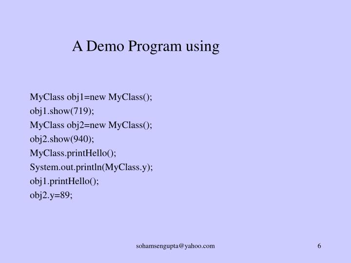 A Demo Program using