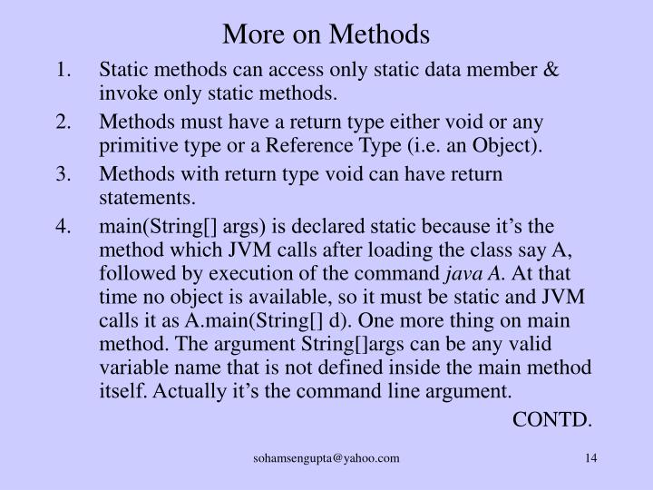 More on Methods