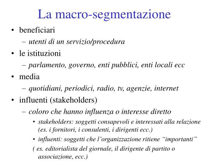 La macro-segmentazione