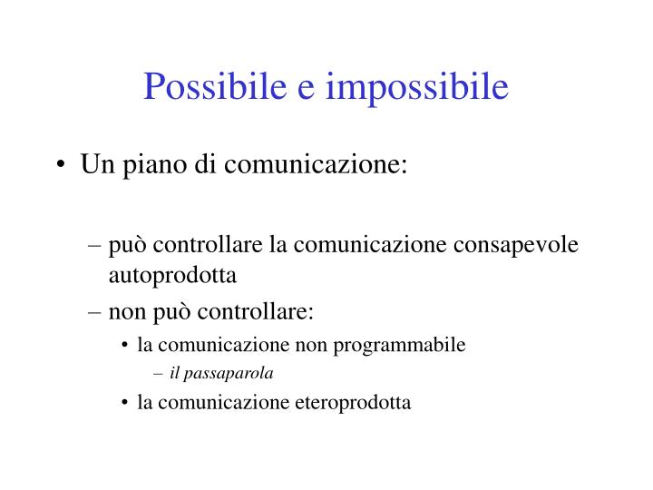 Possibile e impossibile