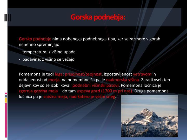 Gorska podnebja:
