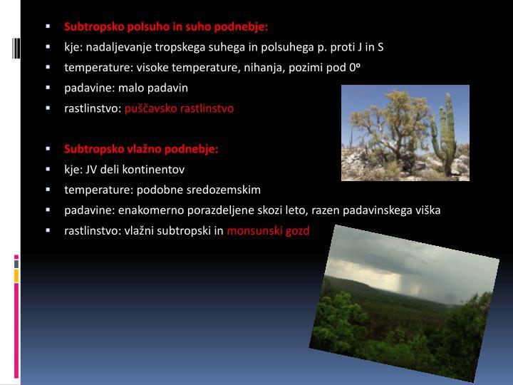 Subtropsko polsuho in suho podnebje:
