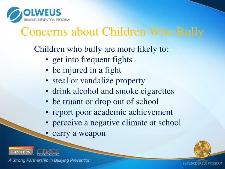 Concerns about Children Who Bully