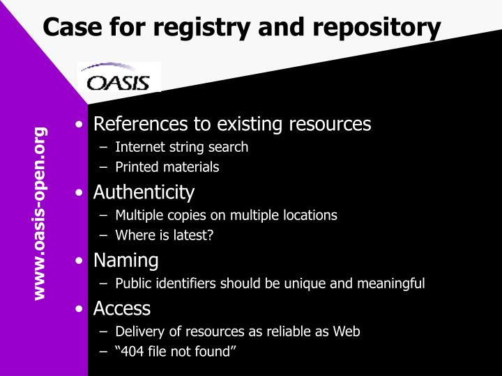 Case for registry and repository