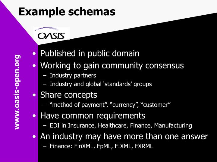Example schemas