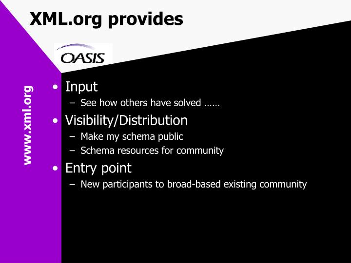 XML.org provides
