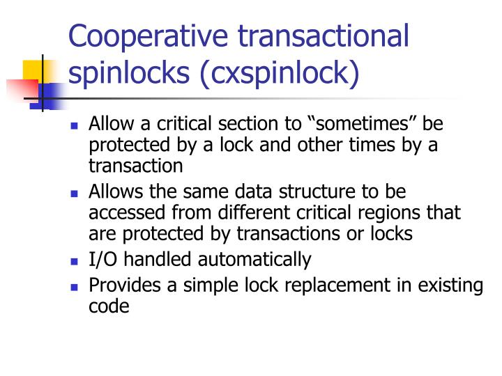 Cooperative transactional spinlocks (cxspinlock)