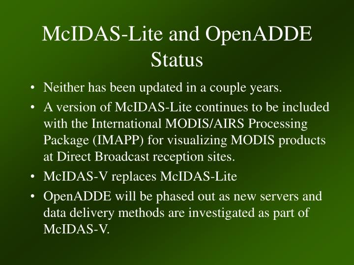 McIDAS-Lite and OpenADDE Status