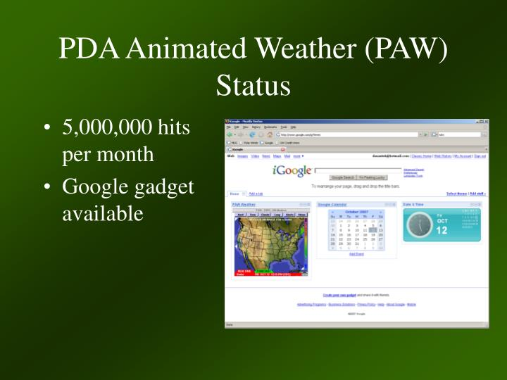 PDA Animated Weather (PAW) Status