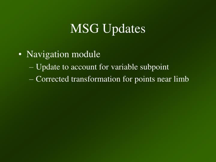 MSG Updates