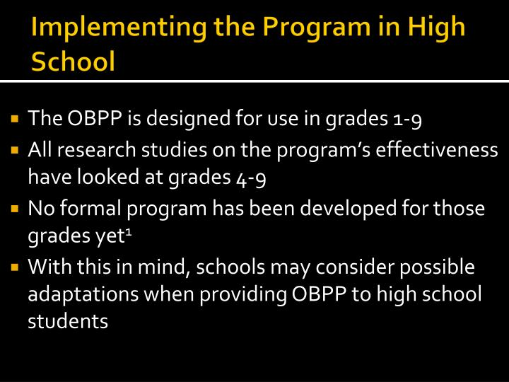 Implementing the Program in High School