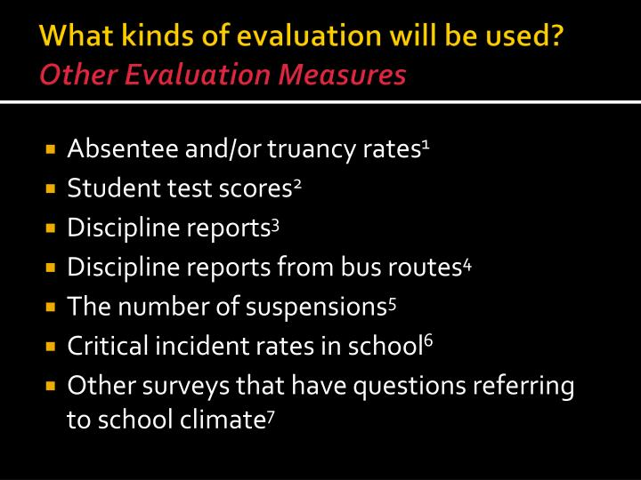 What kinds of evaluation will be used?