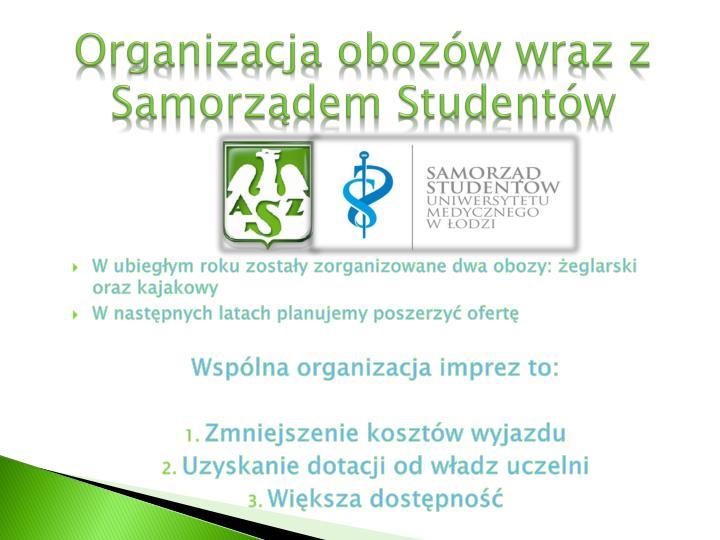 Organizacja obozów wraz z Samorządem Studentów