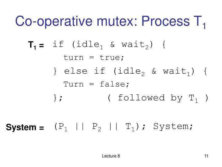 Co-operative mutex: Process T