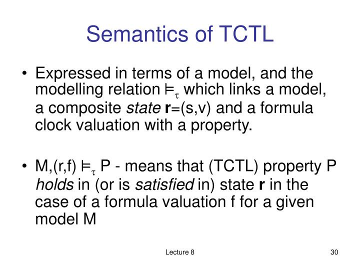 Semantics of TCTL