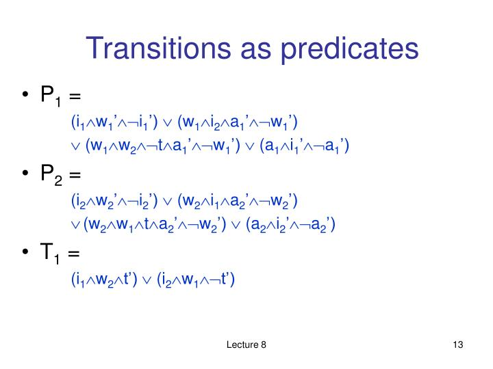 Transitions as predicates