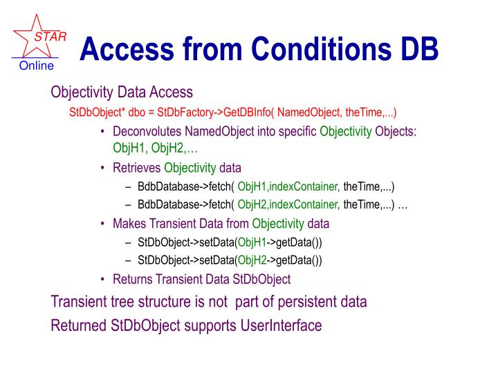 Access from Conditions DB
