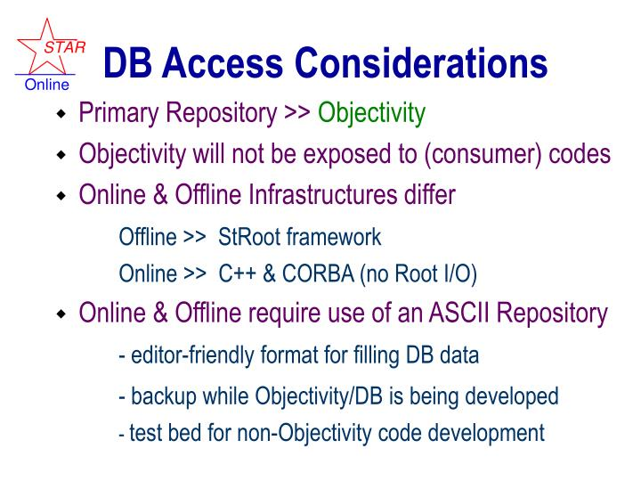 DB Access Considerations