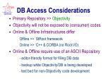 db access considerations