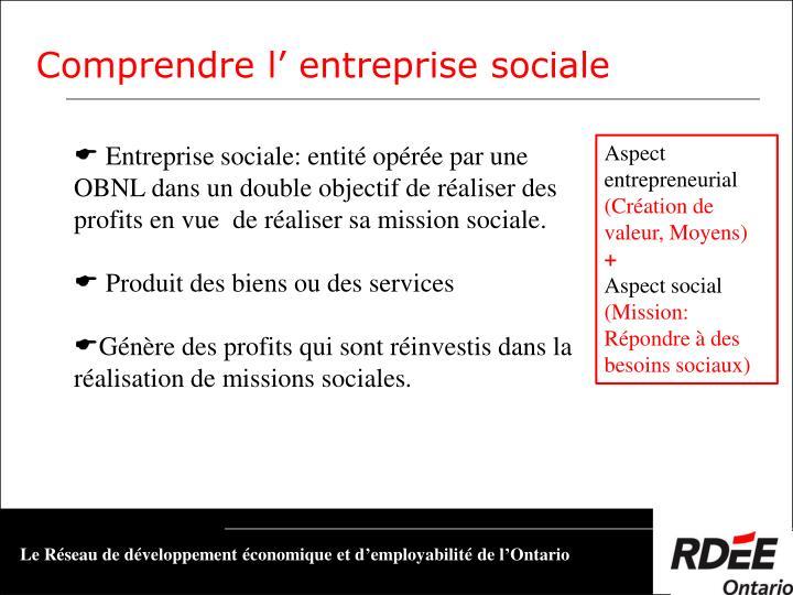 Entreprise sociale: entité opérée par une OBNL dans un double objectif de réaliser des profits en vue  de réaliser sa mission sociale.