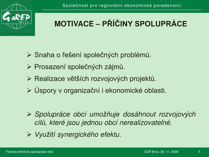 Motivace – Příčiny spolupráce