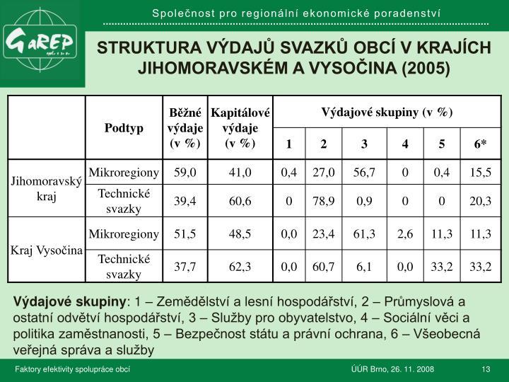 Struktura výdajů svazků obcí v krajích Jihomoravském a vysočina (2005)
