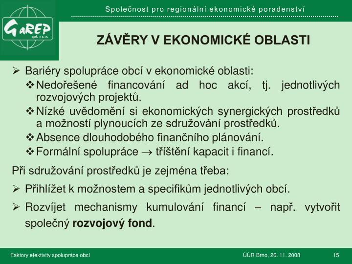 závěry v ekonomické oblasti